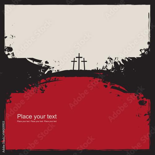 Foto Bereiten Sie Kalvarienberg mit drei Kreuzen auf abstraktem grunge Hintergrund vo