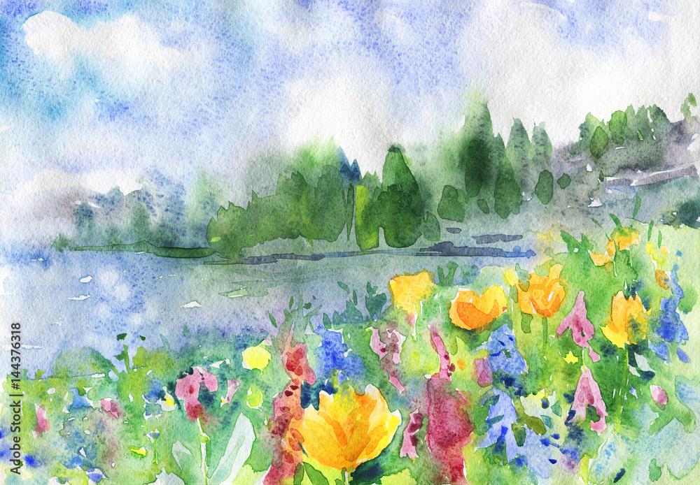 Tło akwarela natura. Ręka rysujący wiosna krajobraz z śródpolnymi kwiatami, jeziorem, niebieskim niebem i lasem. Malowanie drewna ilustracji <span>plik: #144376318   autor: Cincinart</span>