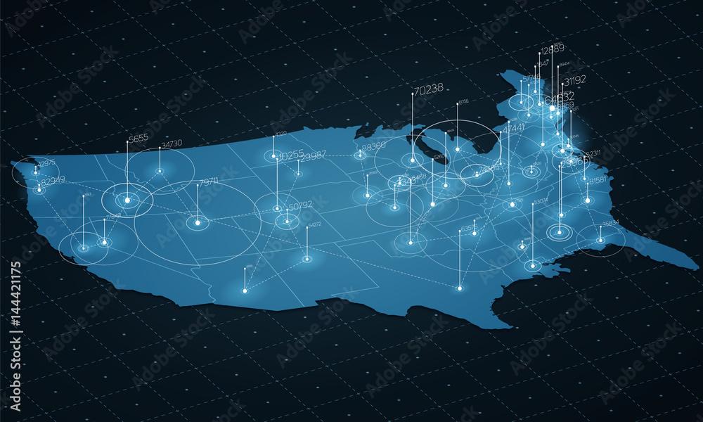 USA wizualizacja dużych zbiorów danych. Futurystyczna mapa plansza. Estetyka informacji. Złożoność danych wizualnych. Złożona wizualizacja danych w USA. Abstrakcyjne dane na wykresie mapy. <span>plik: #144421175 | autor: garrykillian</span>