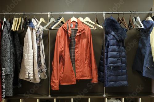 Obraz na płótnie clothes in a cloakroom