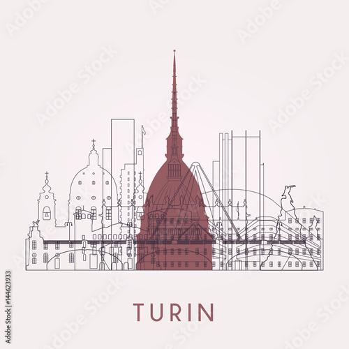 Carta da parati Outline Turin skyline