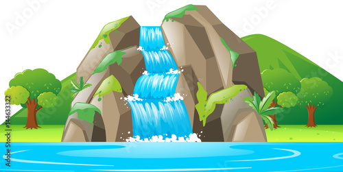 Scena z wodospadem i rzeką