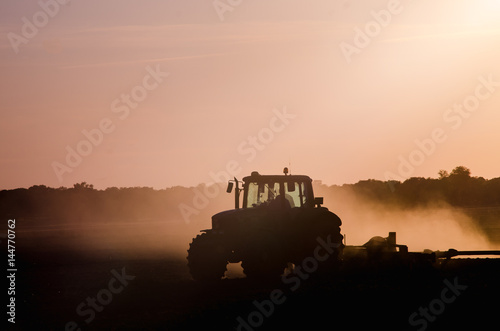 Canvas Print Tractor working