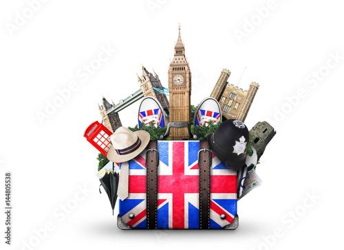 Fotografia England, vintage suitcase with British flag