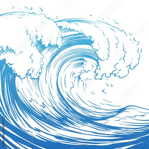 Slika na platnu Great wave hand drawing illustration