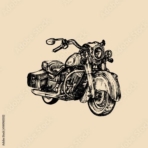 Photo Vector hand drawn cruiser for MC,biker logo,label