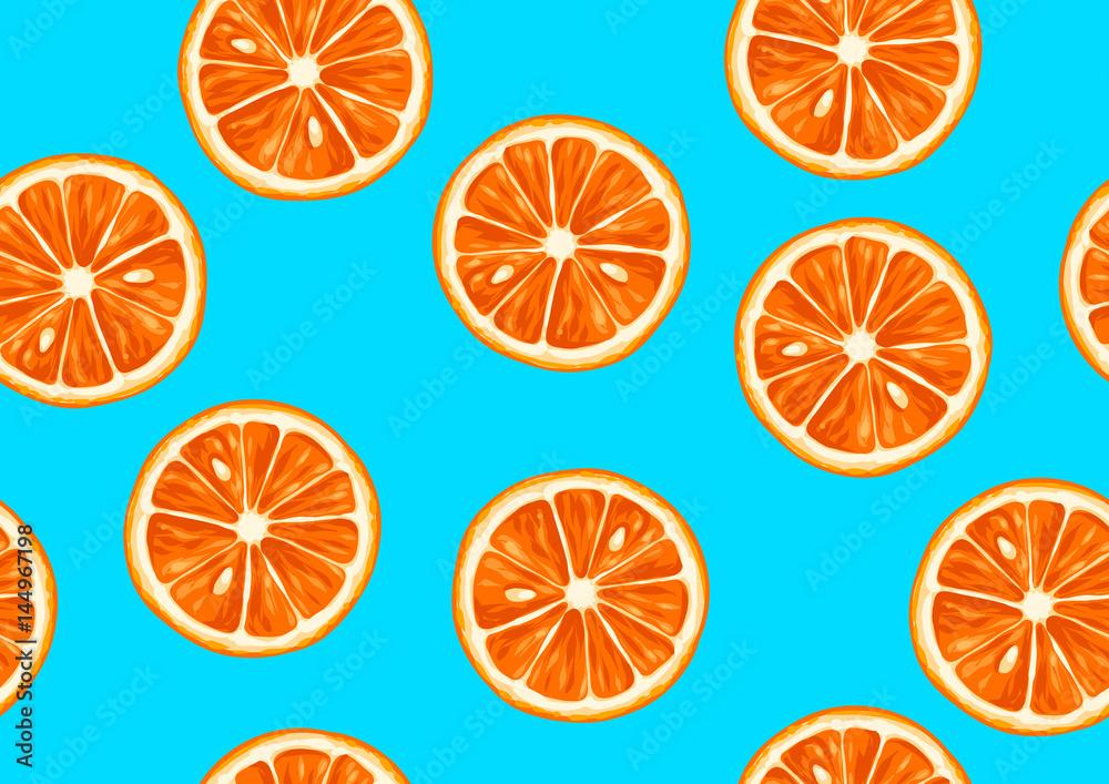 Bezszwowy wzór z tropikalnymi cytrus owoc pokrajać. Dekoracyjny ornament <span>plik: #144967198   autor: incomible</span>