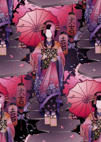 Valokuva Graphic geisha with umbrella
