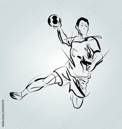 Fototapeta Vector line sketch of a handball player