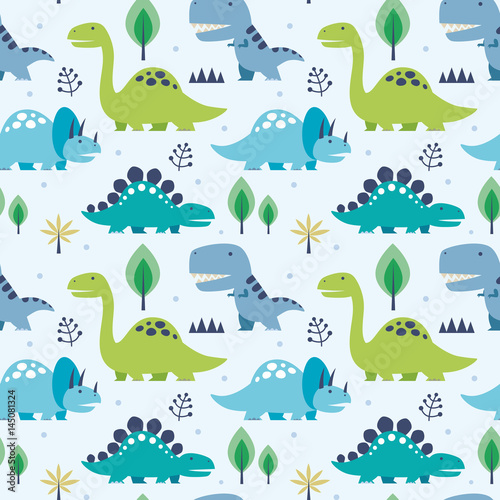 Foto Vector illustration seamless pattern with Dinosaurs