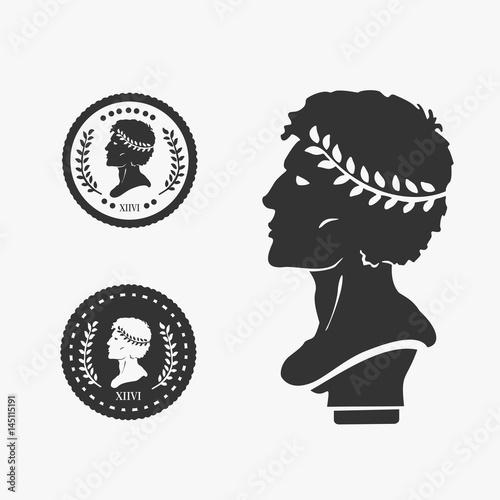 Greek Profile Coin Vector Illustration Fototapeta