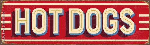 Obraz na plátně Vintage metal sign - Hot Dogs - Vector EPS10
