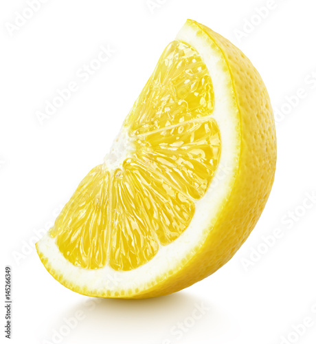 Ripe slice of yellow lemon citrus fruit stand isolated on white background with clipping path