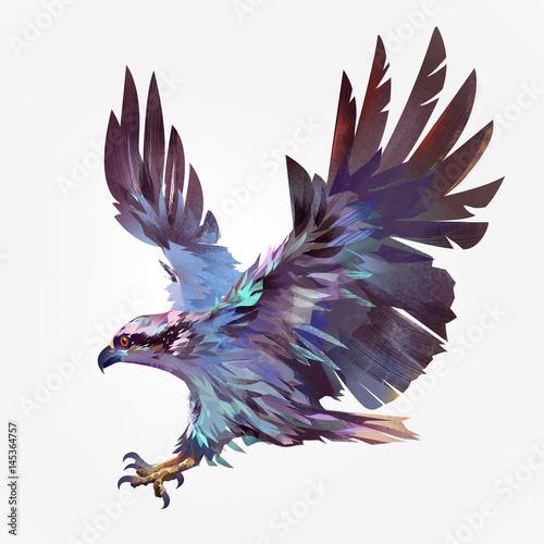 Valokuvatapetti Isolated painted flying bird hawk