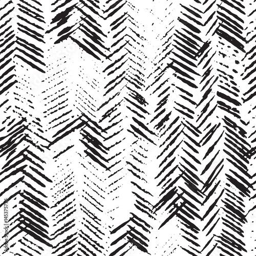 Plakat czarno biała w abstrakcyjny wzór jodełki