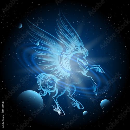 Fotografia Luminous Pegasus in Space vector illustration