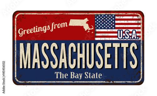 Fotografia Massachusetts vintage rusty metal sign