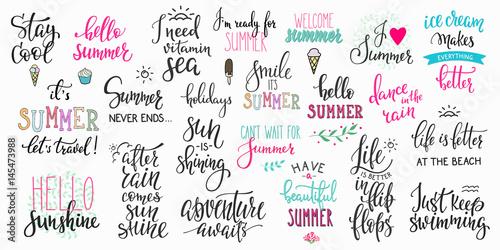 Witaj lato napis typografia duży zestaw