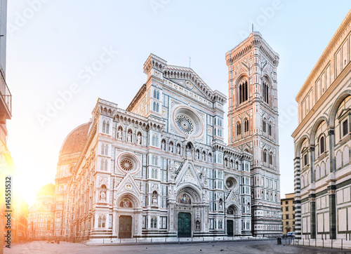Canvastavla Florence Cathedral Santa Maria del Fiore sunrise view, Tuscany, Italy