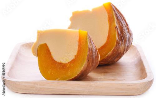 Leinwand Poster Egg custard in pumpkin, Pumpkin Custard,Thai dessert.