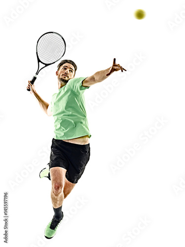 one caucasian  man playing tennis player isolated on white background