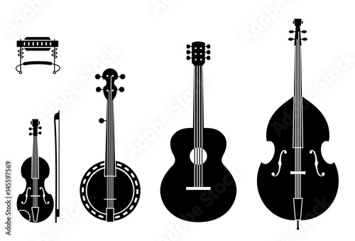 Canvas Print Country Music Instruments Silhouettes With Strings