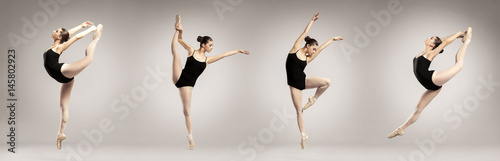 Valokuvatapetti Collage of beautiful ballet dancer on color background