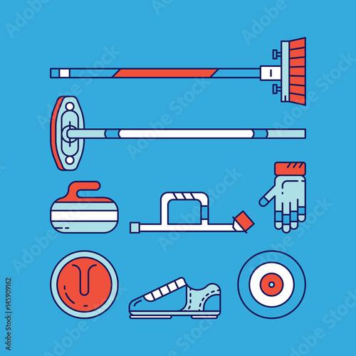 Cuadros en Lienzo Curling sport main icons and symbols.