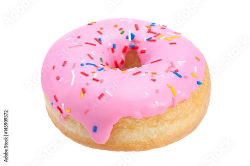 Pink donut closeup on white