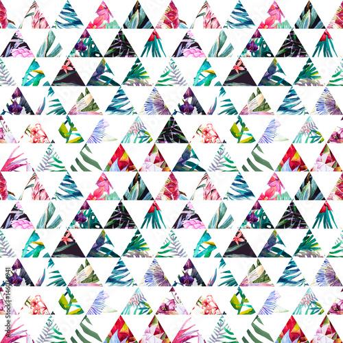 Fototapeta Tropikalny trójkątny wzór akwarela na białym tle na wymiar