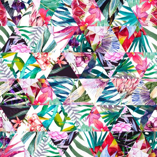 Fototapeta Tropikalny trójkątny wzór akwarela na białym tle do salonu