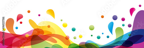 Fotografie, Tablou Summer background and banner with water, splash and waves in vector abstract sha