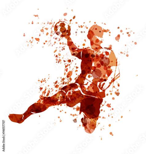 Fototapeta Vector watercolor sketch of a handball player