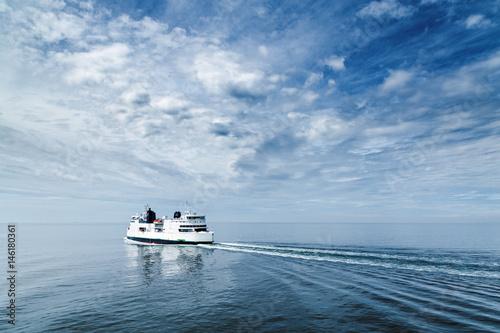 Wallpaper Mural Ferry boat floating open sea, transportation liner shipping cars and people from Danemark Helsingor  to Sweden Helsinborg