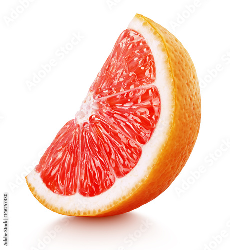 Standing ripe slice of pink grapefruit citrus fruit isolated on white background with clipping path