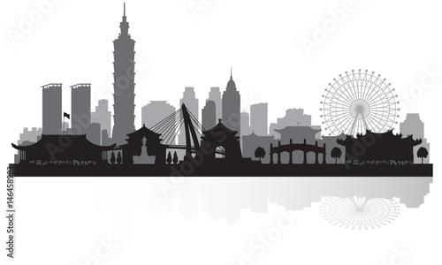 Fototapeta premium Sylwetka panoramę miasta Tajpej Tajwan