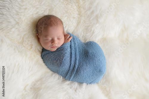 Swaddled, Sleeping Newborn Baby Boy