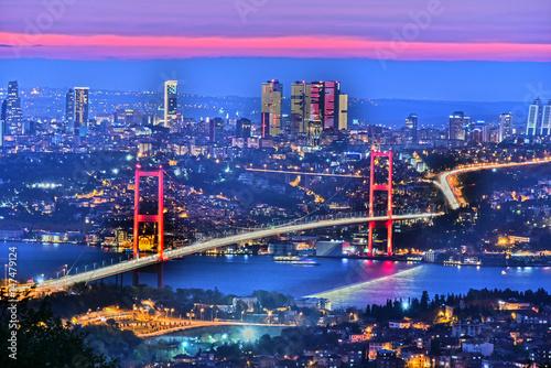 Photo Panoramic view of Istanbul with the Bosphorus Bridge