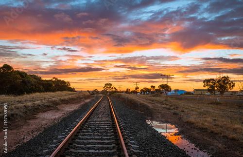 Railway tracks at sunset  scenic rural Australian landscape