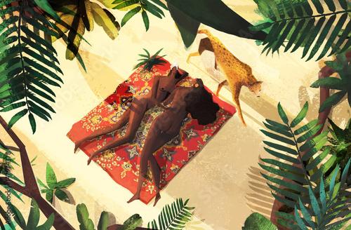 Carta da parati Tropical Cats