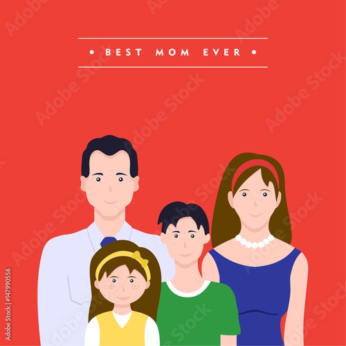 Photo Happy mothers day family love illustration
