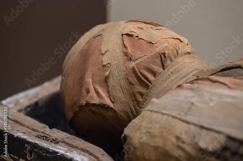 Fototapeta Egyptian mummy head close up detail of