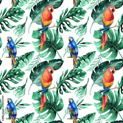 Fototapeta Papugi i tropikalne liście akwarela na białym tle do pokoju