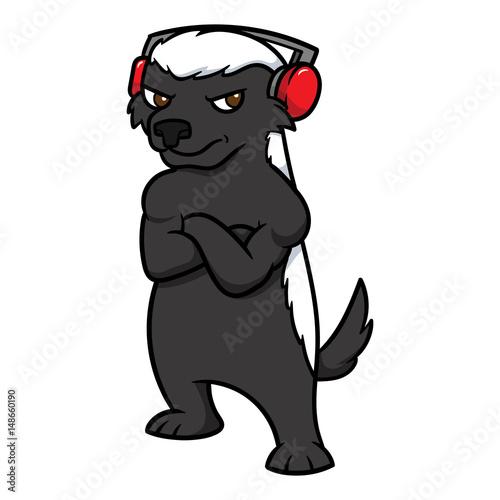 Cartoon Honey Badger Wearing Headphones Vector Illustration Fototapet