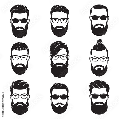 Stampa su Tela Set of vector bearded men faces hipsters