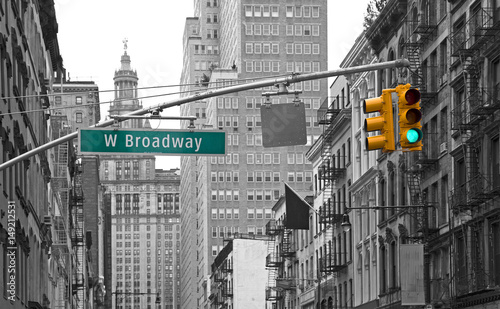 West Broadway street sign in New York, USA