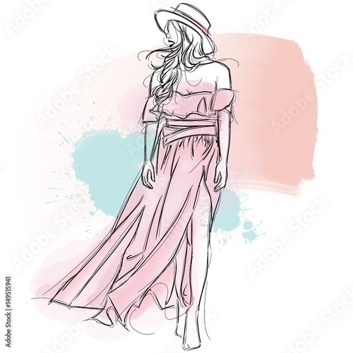 Beautiful Girl Wearing Hat and Pink Bikini Dress in Pastel Color