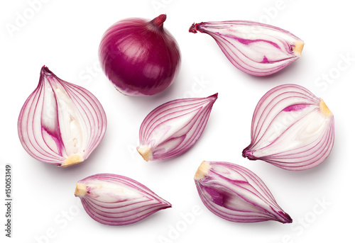 Fotografia Red Onions Isolated on White Background