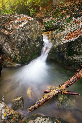 Mountain river in Crimea. Beautiful autumn landscape.