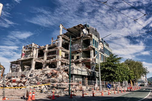 Fotografia, Obraz An almost demolished building on the closed area of downtown of Christchurch,  After the earthquake on 22 February 2011